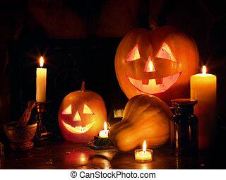 Halloween Jack O' Lantern pumpkin head stacked at Halloween night.