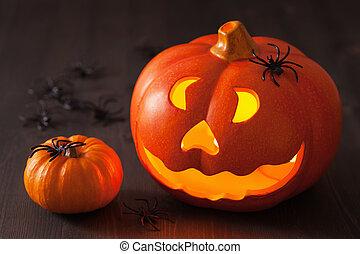 Halloween Jack O Lantern pumpkin spiders candles