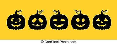 Halloween Jack O Lantern pumpkins collection. Vector ...