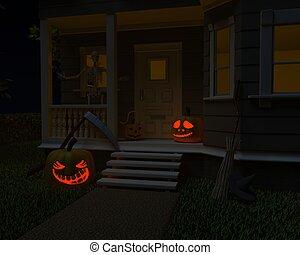 halloween jack-o-lantern pumpkins on door step