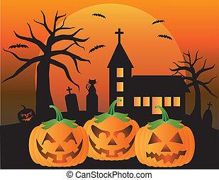 Halloween Jack O Lantern Pumpkins with Church Moon Black Cat...