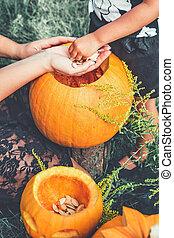 Halloween . Jack-o-Lantern. scary pumpkin with a smile