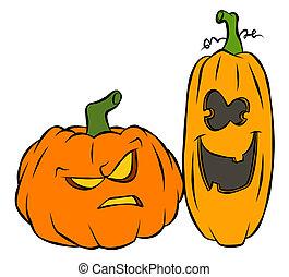 Halloween Jack-O-Lanterns - A goofy pair of Halloween...