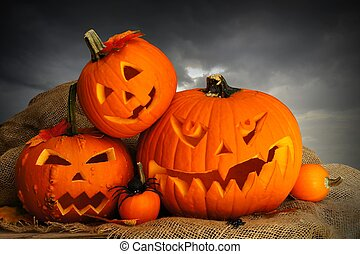 Halloween Jack o Lanterns at night - Halloween Jack o...