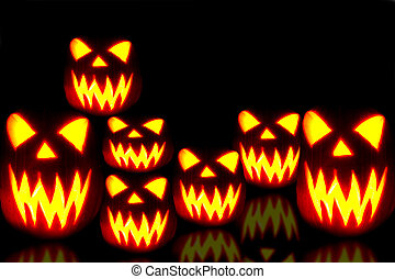Halloween Jack-o-lanterns - Spooky group of Halloween...