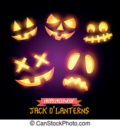 Halloween Jack O Lanterns, various pumpkin halloween faces. Vector illustration.
