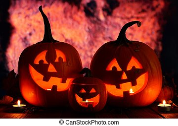 Halloween Jack o Lanterns with orange grunge background