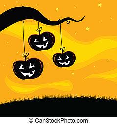 Halloween Jack O\'lantern Tree Back - Pumpkin heads hanging...