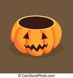 Halloween Jack Pumpkin Basket Vector