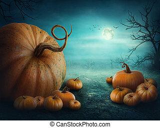 halloween, kürbise