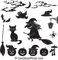halloween, karikatur, satz, schwarz, silhouette