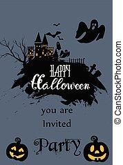 halloween, karta, zaproszenie, szczęśliwy