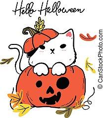 halloween, kat, knippen, groet, doodle, blad, idee, herfst, ...
