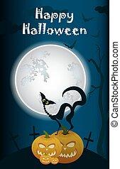 halloween, kat, zwarte achtergrond, maan