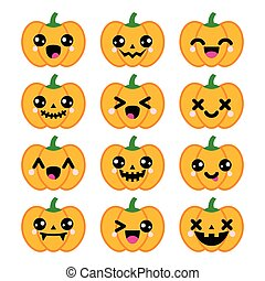 Celebrating Halloween - pumpkin with cute or scary faces icons set isolated on white