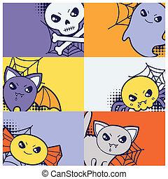 Halloween kawaii greeting cards with cute doodles.
