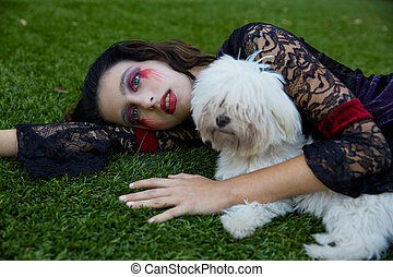 Halloween kid girl custome bloody makeup