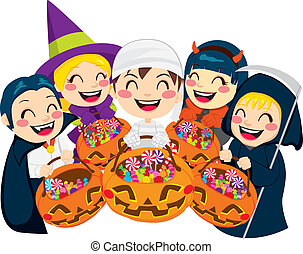 Halloween Kids and Candy - Five kids doing Halloween Trick...