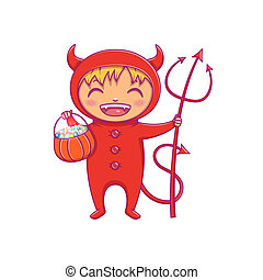 Little boy in halloween costume of devil laughing. Cartoon vector Character for party, invitations, web, mascot.