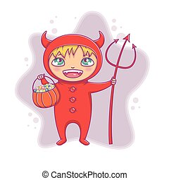Little boy in halloween devil costume laughing. Cartoon vector Character for party, invitations, web, mascot.