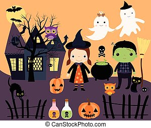 Halloween Kids in Costumes Set