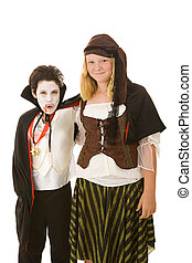 halloween, kinder, -, bruder schwester