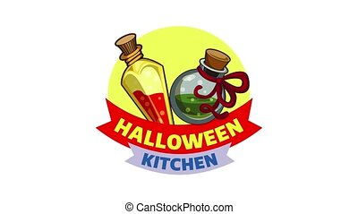 Halloween kitchen logo animation best object on white background