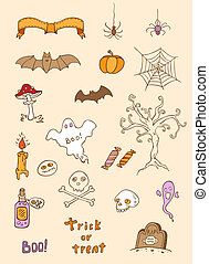 halloween, klotter, elementara, design