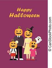 halloween, kostiumy, rodzina, dynia