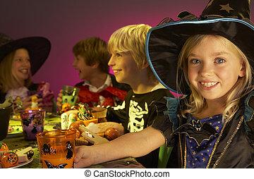halloween, kostuums, zich verbeelden, kinderen, plezier, ...