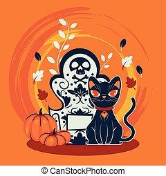 halloween, kyrkogård, katt, förklädet, tecken