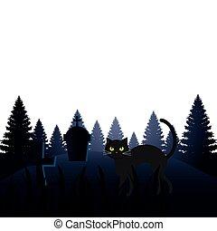 halloween, kyrkogård, katt