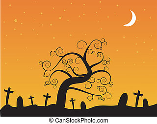 halloween-, kyrkogård, natt