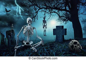 halloween, kyrkogård, nattetid, scen