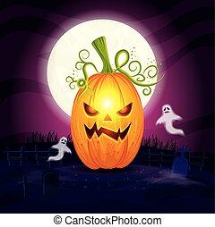 halloween, kyrkogård, pumpa, gengångare