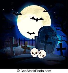 halloween, kyrkogård, skallar, scen