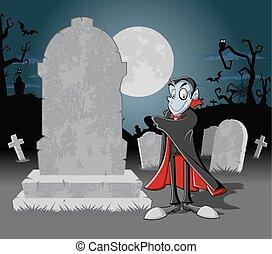 halloween, kyrkogård, vampyr