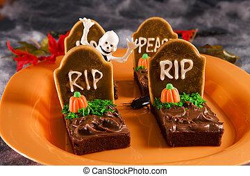 halloween, lápida, brownies
