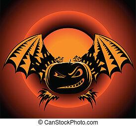 Halloween label with pumpkin wings