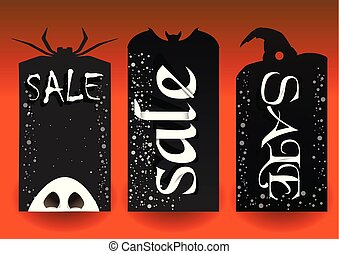Halloween labels black orange with white text
