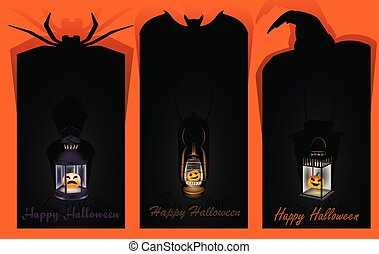 Halloween labels with lantern in orange and black