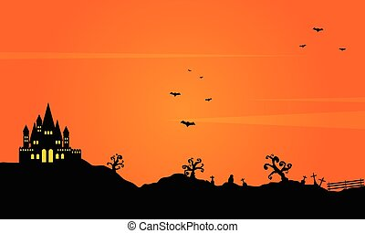 Halloween landscape background with castle