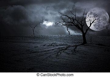 Halloween Landscape - Halloween dark scenery with naked ...