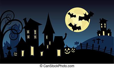 halloween landscape illustration vector
