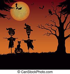 halloween, landscape, scarecrows, pompoen