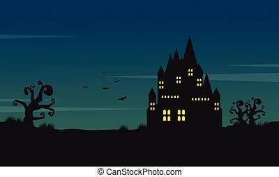 Halloween landscape with castle at night