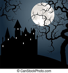 castle , tree and moon - Halloween landscape with castle , ...
