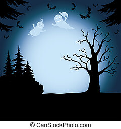 Halloween landscape with ghosts