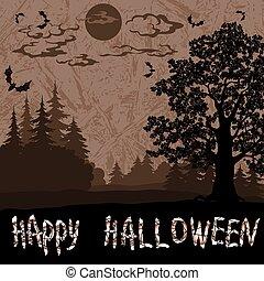 Halloween Landscape with Inscription