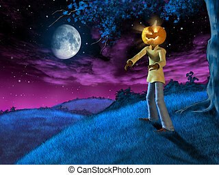 Halloween landscape with Jack-o'-lantern. Digital ...
